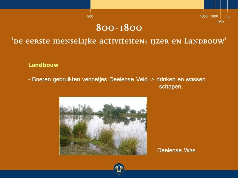 Landbouw Boeren gebruikten vennetjes Deelense Veld -> drinken en wassen schapen. Deelense Was
