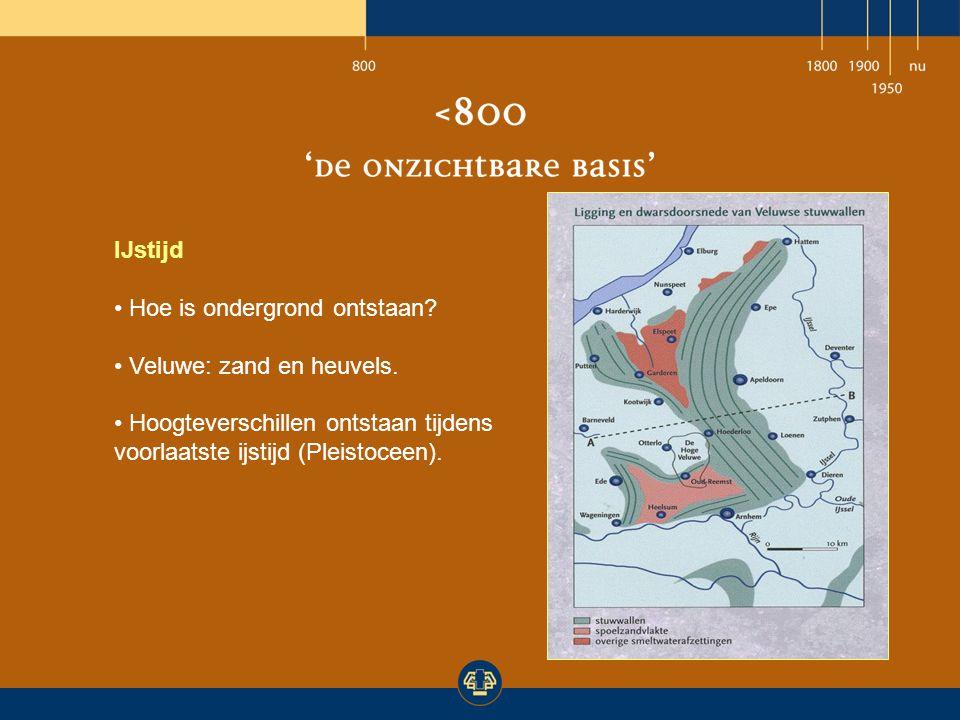 IJstijd Hoe is ondergrond ontstaan? Veluwe: zand en heuvels. Hoogteverschillen ontstaan tijdens voorlaatste ijstijd (Pleistoceen).