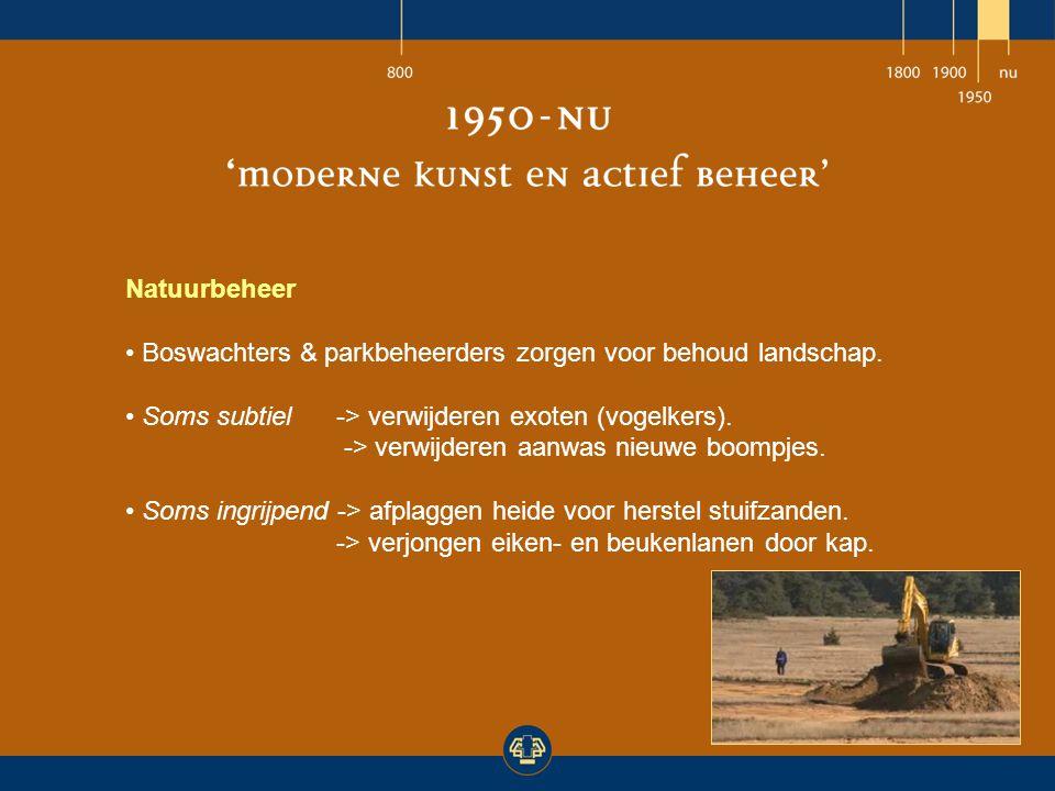 Natuurbeheer Boswachters & parkbeheerders zorgen voor behoud landschap. Soms subtiel-> verwijderen exoten (vogelkers). -> verwijderen aanwas nieuwe bo