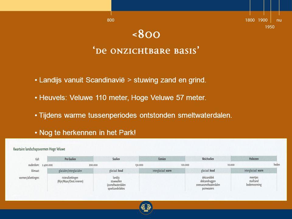 Landijs vanuit Scandinavië > stuwing zand en grind. Heuvels: Veluwe 110 meter, Hoge Veluwe 57 meter. Tijdens warme tussenperiodes ontstonden smeltwate