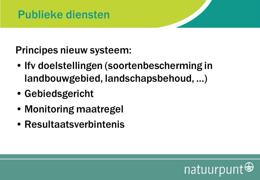 Publieke diensten Principes nieuw systeem: Ifv doelstellingen (soortenbescherming in landbouwgebied, landschapsbehoud, …) Gebiedsgericht Monitoring maatregel Resultaatsverbintenis