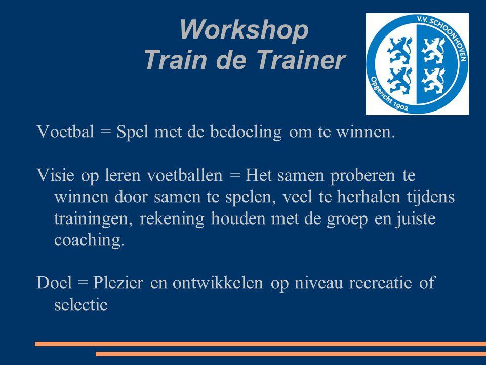 Workshop Train de Trainer Voetbal = Spel met de bedoeling om te winnen. Visie op leren voetballen = Het samen proberen te winnen door samen te spelen,