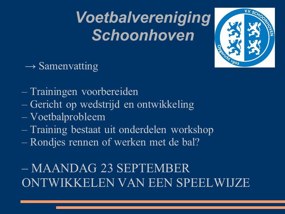 Voetbalvereniging Schoonhoven → Samenvatting – Trainingen voorbereiden – Gericht op wedstrijd en ontwikkeling – Voetbalprobleem – Training bestaat uit