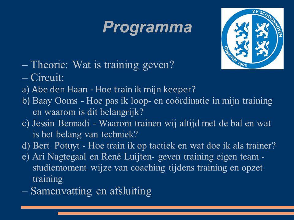 Programma – Theorie: Wat is training geven? – Circuit: a) Abe den Haan - Hoe train ik mijn keeper? b) Baay Ooms - Hoe pas ik loop- en coördinatie in m