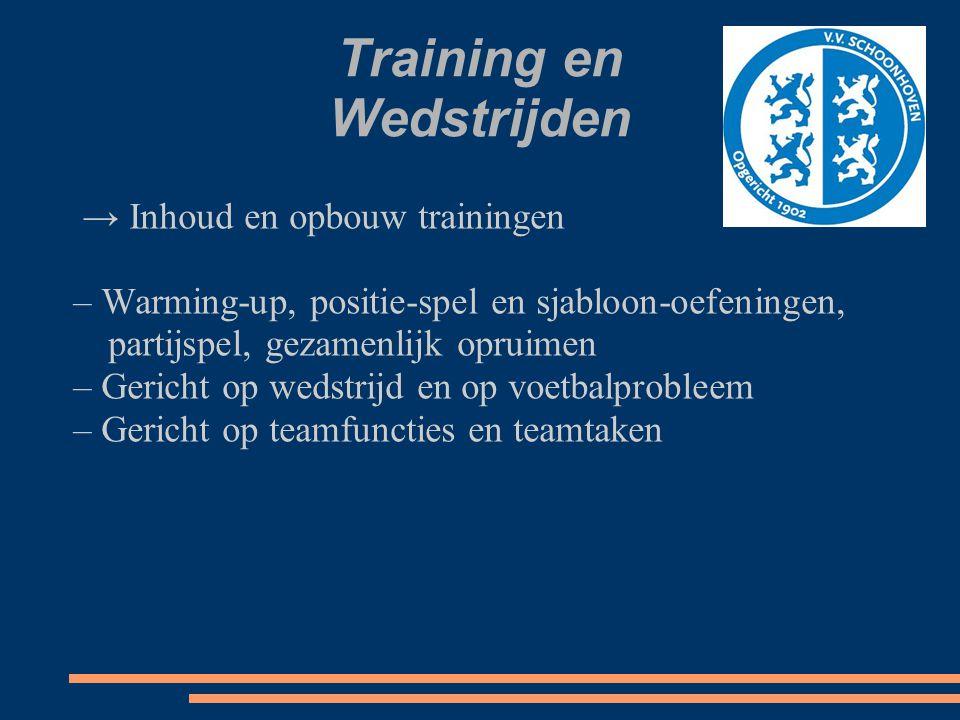 Training en Wedstrijden → Inhoud en opbouw trainingen – Warming-up, positie-spel en sjabloon-oefeningen, partijspel, gezamenlijk opruimen – Gericht op