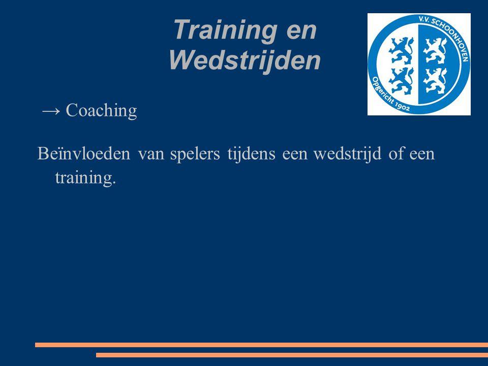 Training en Wedstrijden → Coaching Beïnvloeden van spelers tijdens een wedstrijd of een training.