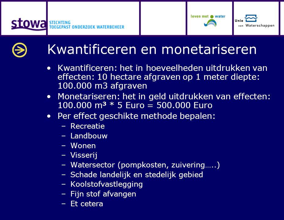 Kwantificeren en monetariseren Kwantificeren: het in hoeveelheden uitdrukken van effecten: 10 hectare afgraven op 1 meter diepte: 100.000 m3 afgraven