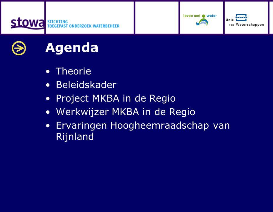 Agenda Theorie Beleidskader Project MKBA in de Regio Werkwijzer MKBA in de Regio Ervaringen Hoogheemraadschap van Rijnland