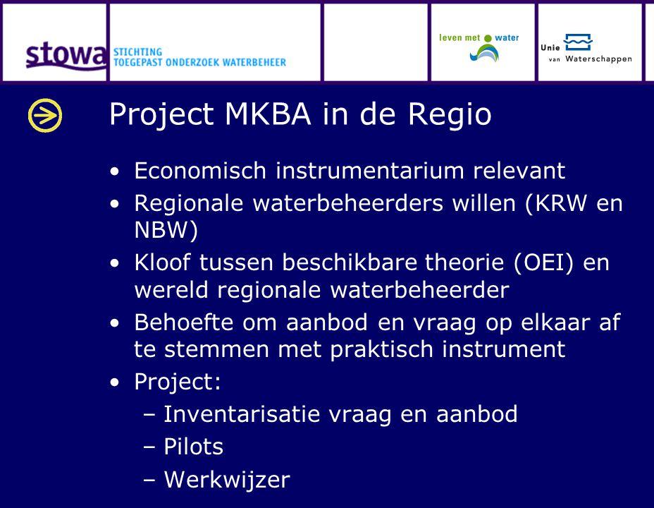Project MKBA in de Regio Economisch instrumentarium relevant Regionale waterbeheerders willen (KRW en NBW) Kloof tussen beschikbare theorie (OEI) en w