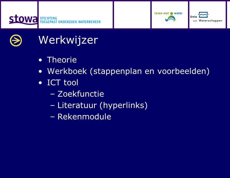 Werkwijzer Theorie Werkboek (stappenplan en voorbeelden) ICT tool –Zoekfunctie –Literatuur (hyperlinks) –Rekenmodule