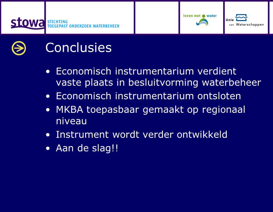 Conclusies Economisch instrumentarium verdient vaste plaats in besluitvorming waterbeheer Economisch instrumentarium ontsloten MKBA toepasbaar gemaakt