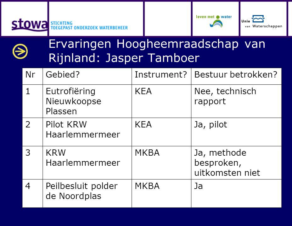 Ervaringen Hoogheemraadschap van Rijnland: Jasper Tamboer NrGebied?Instrument?Bestuur betrokken? 1Eutrofiëring Nieuwkoopse Plassen KEANee, technisch r