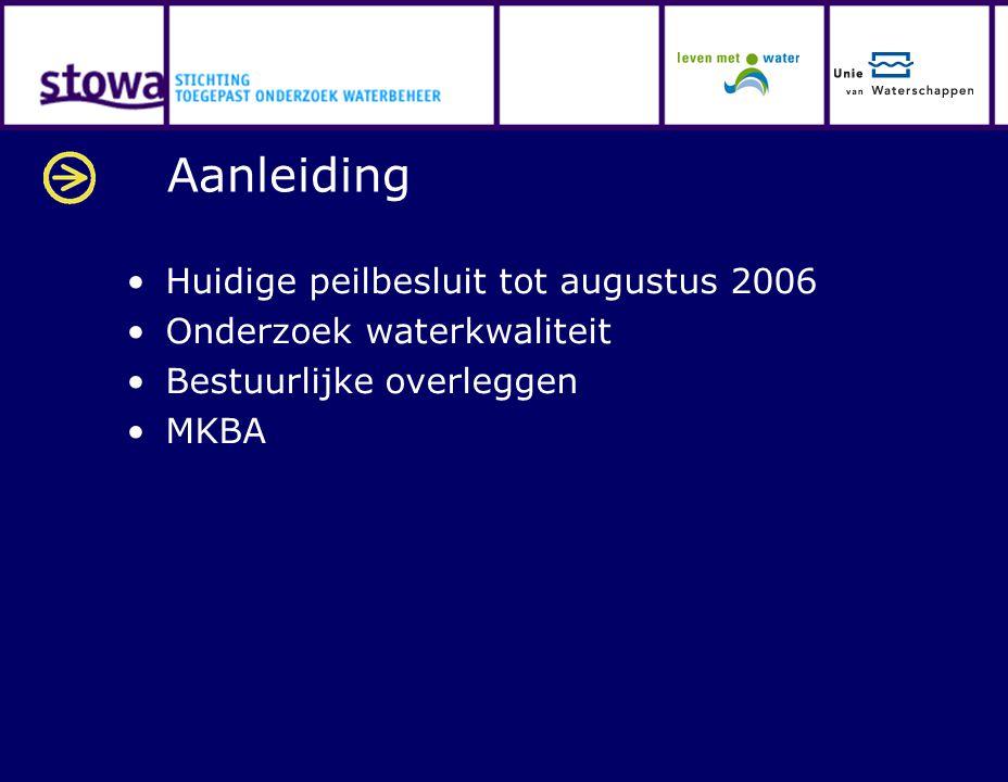Aanleiding Huidige peilbesluit tot augustus 2006 Onderzoek waterkwaliteit Bestuurlijke overleggen MKBA