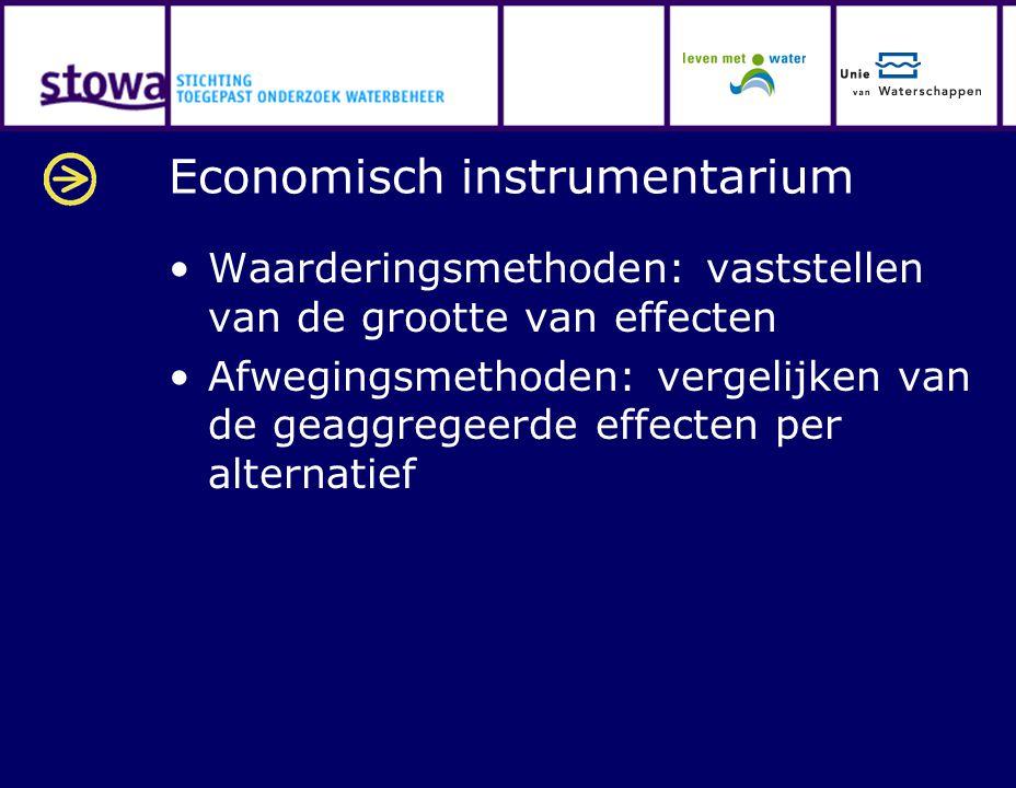 Economisch instrumentarium Waarderingsmethoden: vaststellen van de grootte van effecten Afwegingsmethoden: vergelijken van de geaggregeerde effecten p