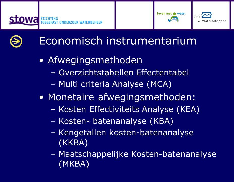 Economisch instrumentarium Afwegingsmethoden –Overzichtstabellen Effectentabel –Multi criteria Analyse (MCA) Monetaire afwegingsmethoden: –Kosten Effe