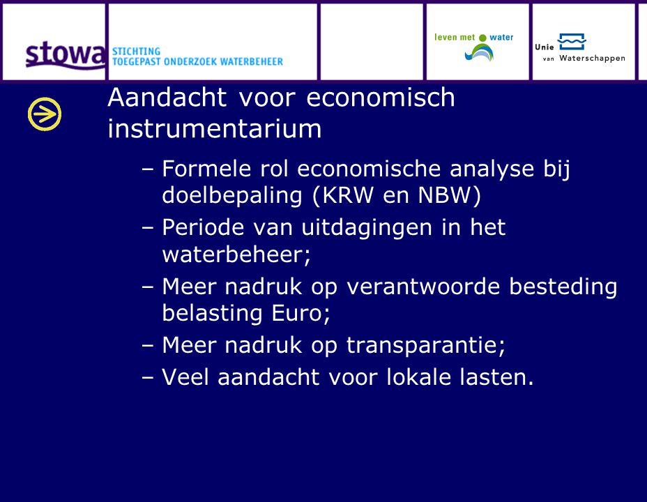 Aandacht voor economisch instrumentarium –Formele rol economische analyse bij doelbepaling (KRW en NBW) –Periode van uitdagingen in het waterbeheer; –