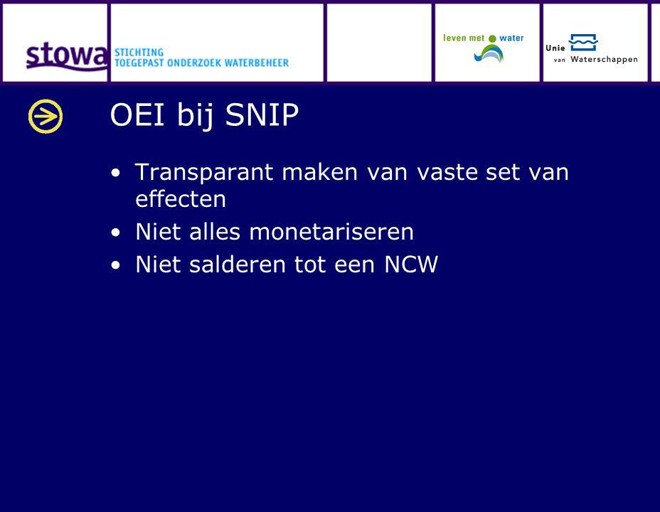 OEI bij SNIP Transparant maken van vaste set van effecten Niet alles monetariseren Niet salderen tot een NCW