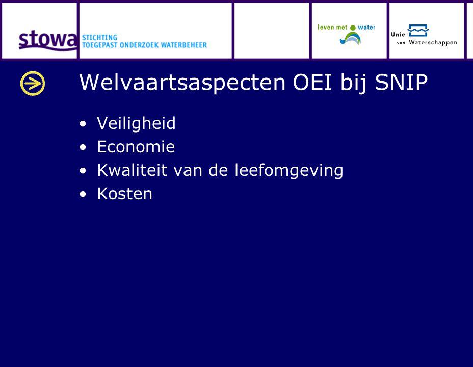 Welvaartsaspecten OEI bij SNIP Veiligheid Economie Kwaliteit van de leefomgeving Kosten