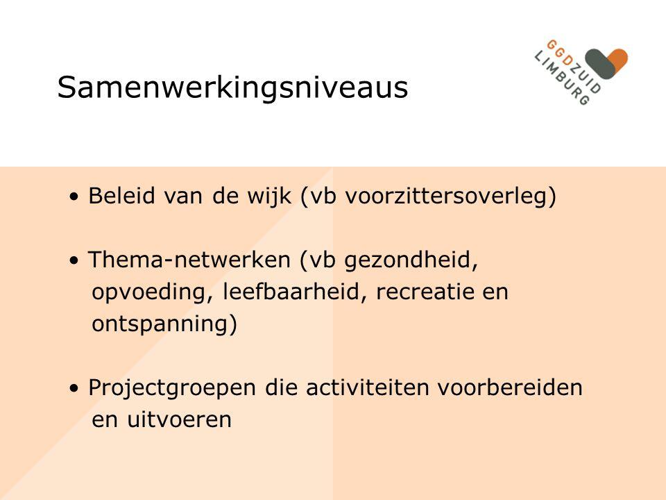 Samenwerkingsniveaus Beleid van de wijk (vb voorzittersoverleg) Thema-netwerken (vb gezondheid, opvoeding, leefbaarheid, recreatie en ontspanning) Projectgroepen die activiteiten voorbereiden en uitvoeren