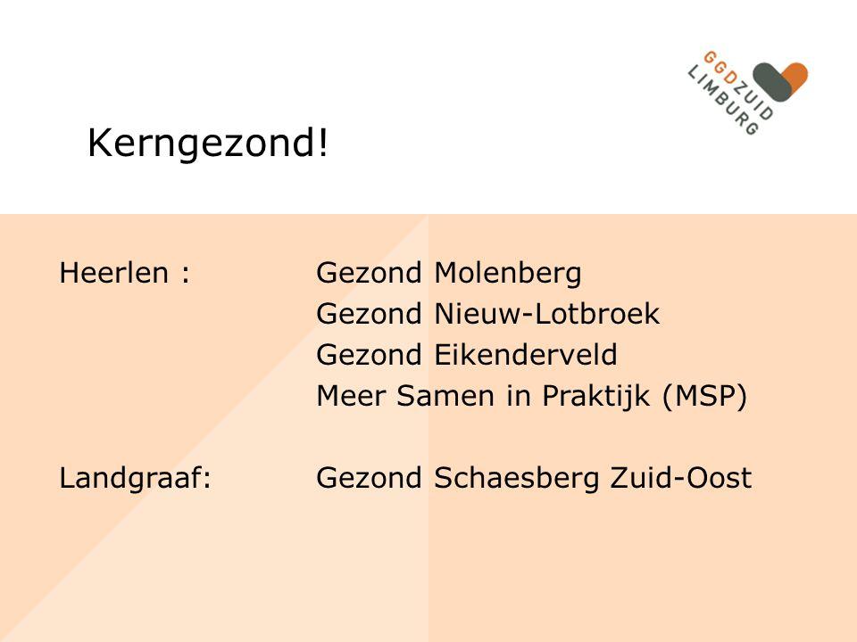Heerlen : Gezond Molenberg Gezond Nieuw-Lotbroek Gezond Eikenderveld Meer Samen in Praktijk (MSP) Landgraaf:Gezond Schaesberg Zuid-Oost Kerngezond!