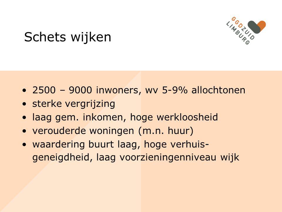 Schets wijken 2500 – 9000 inwoners, wv 5-9% allochtonen sterke vergrijzing laag gem. inkomen, hoge werkloosheid verouderde woningen (m.n. huur) waarde