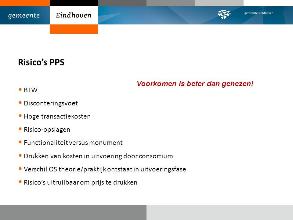 Risico's PPS BTW Disconteringsvoet Hoge transactiekosten Risico-opslagen Functionaliteit versus monument Drukken van kosten in uitvoering door consort