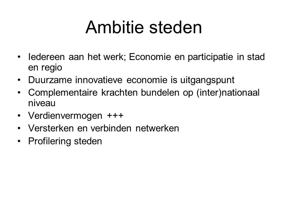 Ambitie steden Iedereen aan het werk; Economie en participatie in stad en regio Duurzame innovatieve economie is uitgangspunt Complementaire krachten bundelen op (inter)nationaal niveau Verdienvermogen +++ Versterken en verbinden netwerken Profilering steden
