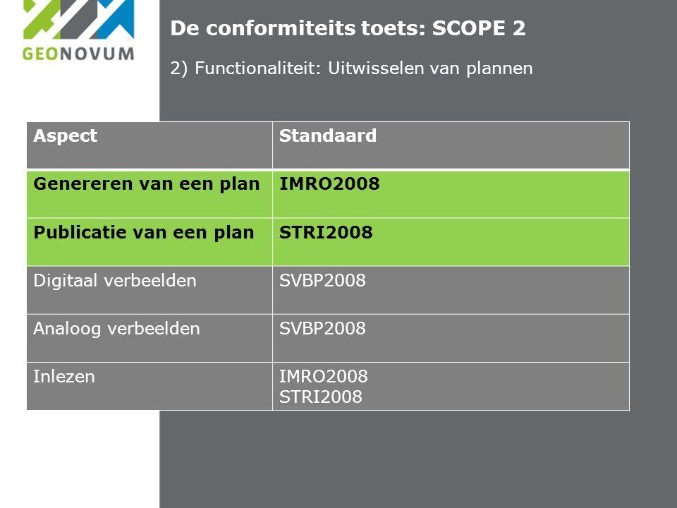 De conformiteits toets: SCOPE 2 2) Functionaliteit: Uitwisselen van plannen AspectStandaard Genereren van een planIMRO2008 Publicatie van een planSTRI2008 Digitaal verbeeldenSVBP2008 Analoog verbeeldenSVBP2008 InlezenIMRO2008 STRI2008