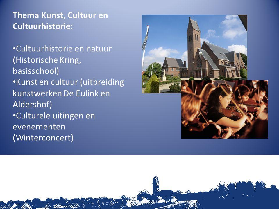 Thema Kunst, Cultuur en Cultuurhistorie: Cultuurhistorie en natuur (Historische Kring, basisschool) Kunst en cultuur (uitbreiding kunstwerken De Eulink en Aldershof) Culturele uitingen en evenementen (Winterconcert)