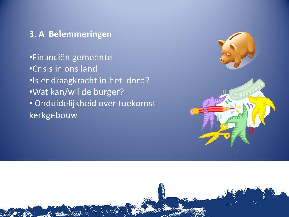 3. A Belemmeringen Financiën gemeente Crisis in ons land Is er draagkracht in het dorp.