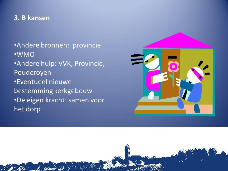 3. B kansen Andere bronnen: provincie WMO Andere hulp: VVK, Provincie, Pouderoyen Eventueel nieuwe bestemming kerkgebouw De eigen kracht: samen voor h