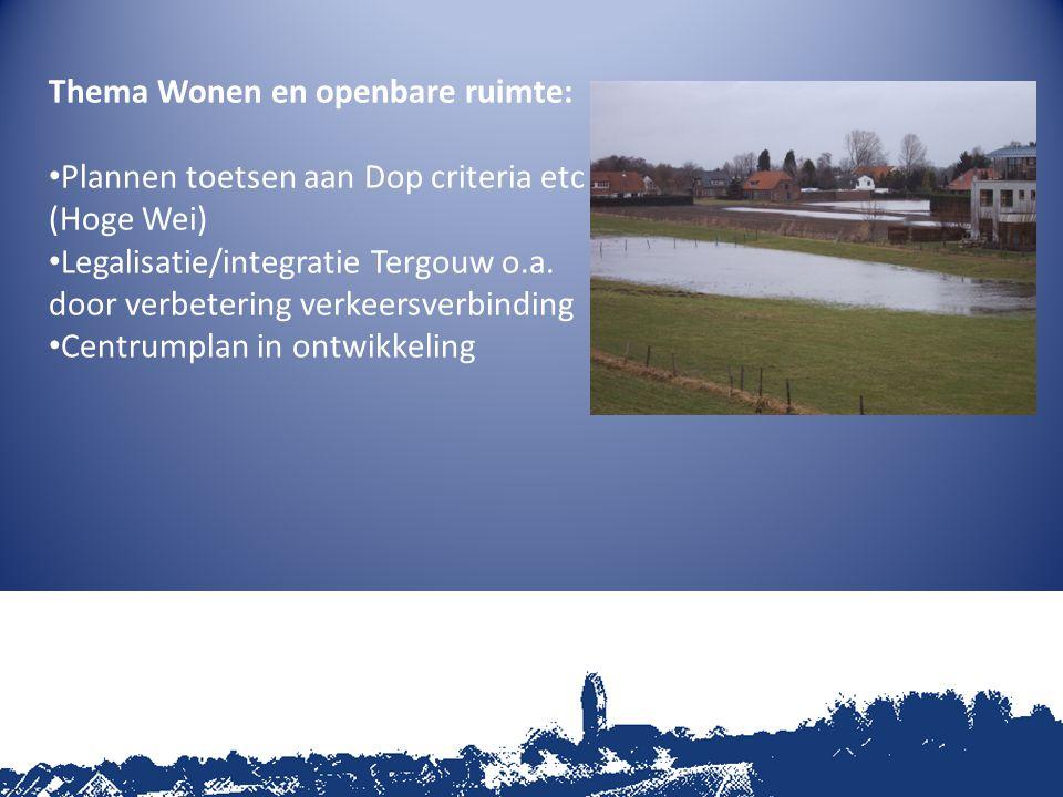 Thema Wonen en openbare ruimte: Plannen toetsen aan Dop criteria etc (Hoge Wei) Legalisatie/integratie Tergouw o.a.
