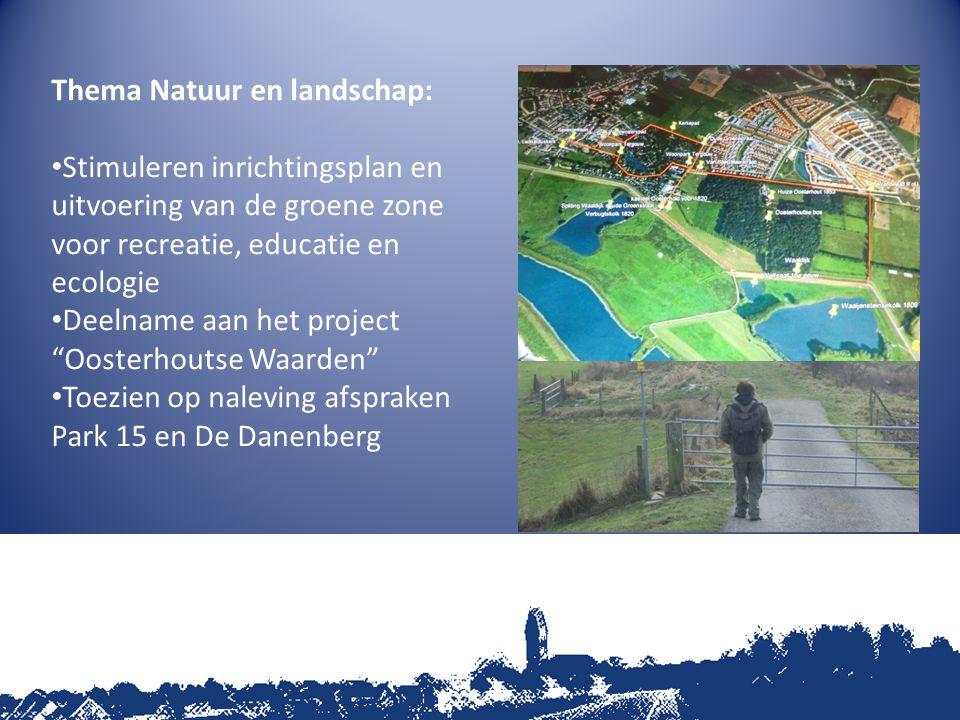 Thema Natuur en landschap: Stimuleren inrichtingsplan en uitvoering van de groene zone voor recreatie, educatie en ecologie Deelname aan het project Oosterhoutse Waarden Toezien op naleving afspraken Park 15 en De Danenberg