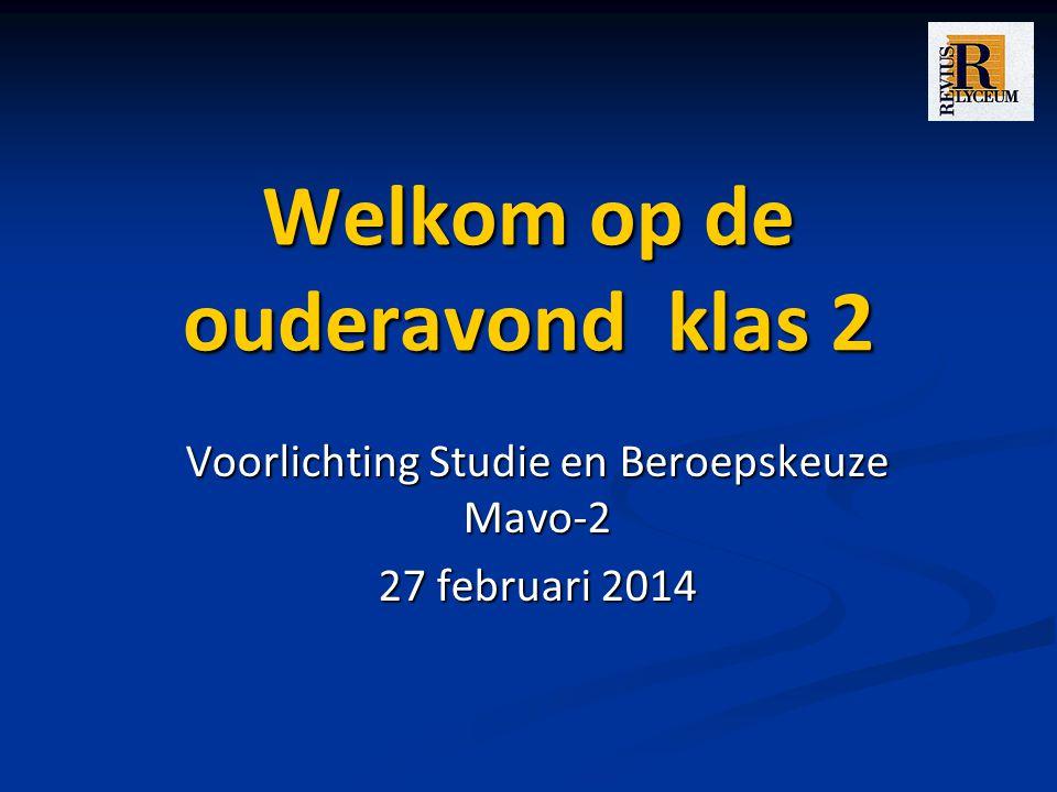 Welkom op de ouderavond klas 2 Voorlichting Studie en Beroepskeuze Mavo-2 27 februari 2014