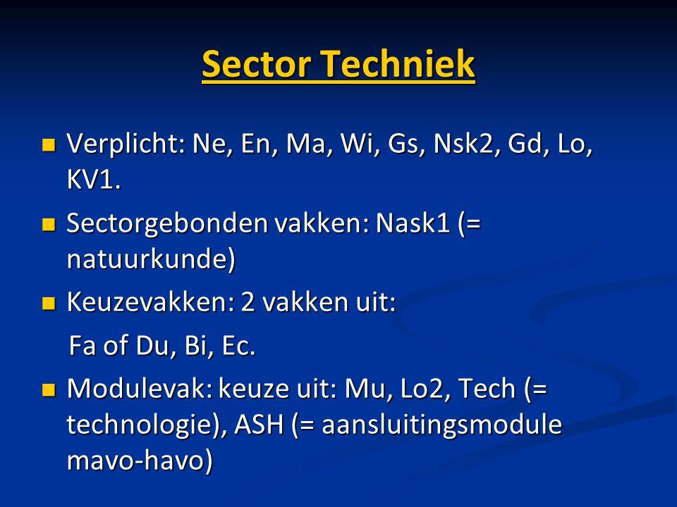 Sector Techniek Verplicht: Ne, En, Ma, Wi, Gs, Nsk2, Gd, Lo, KV1. Verplicht: Ne, En, Ma, Wi, Gs, Nsk2, Gd, Lo, KV1. Sectorgebonden vakken: Nask1 (= na