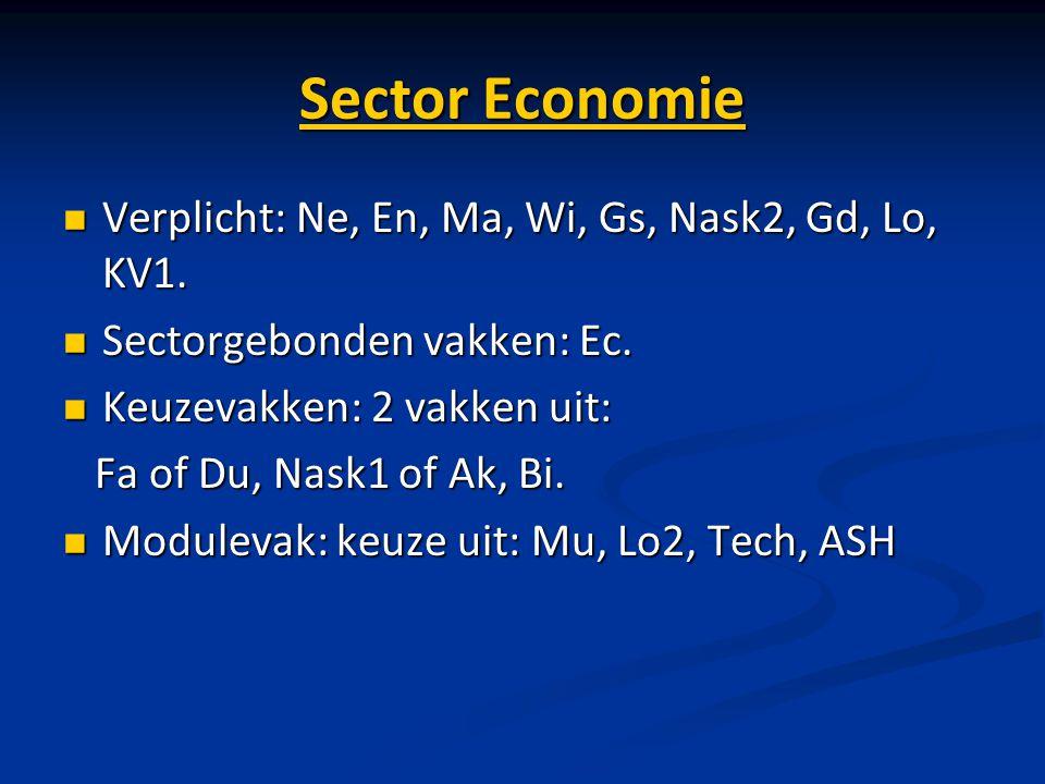 Sector Economie Verplicht: Ne, En, Ma, Wi, Gs, Nask2, Gd, Lo, KV1. Verplicht: Ne, En, Ma, Wi, Gs, Nask2, Gd, Lo, KV1. Sectorgebonden vakken: Ec. Secto