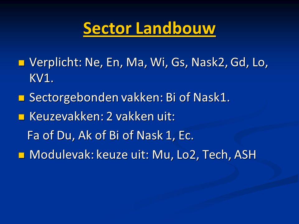 Sector Landbouw Verplicht: Ne, En, Ma, Wi, Gs, Nask2, Gd, Lo, KV1. Verplicht: Ne, En, Ma, Wi, Gs, Nask2, Gd, Lo, KV1. Sectorgebonden vakken: Bi of Nas