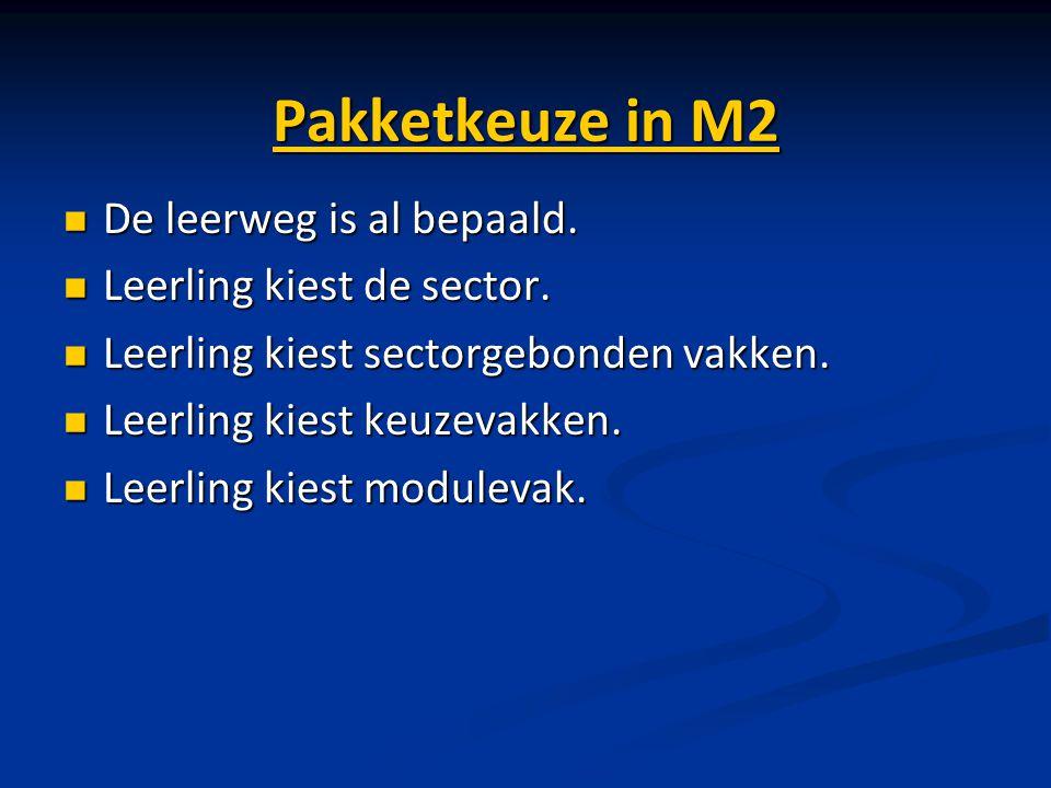 Pakketkeuze in M2 De leerweg is al bepaald. De leerweg is al bepaald. Leerling kiest de sector. Leerling kiest de sector. Leerling kiest sectorgebonde