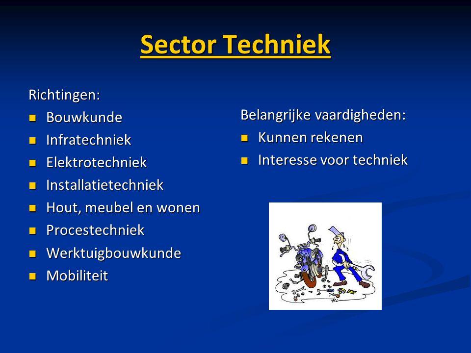 Sector Techniek Richtingen: Bouwkunde Bouwkunde Infratechniek Infratechniek Elektrotechniek Elektrotechniek Installatietechniek Installatietechniek Ho