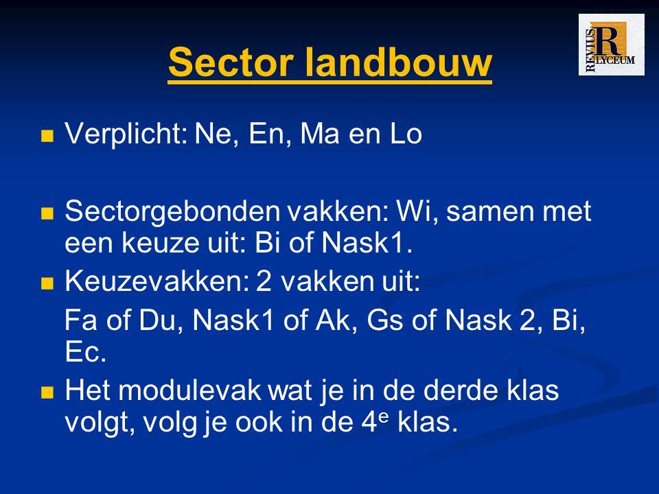 Sector landbouw Verplicht: Ne, En, Ma en Lo Sectorgebonden vakken: Wi, samen met een keuze uit: Bi of Nask1.