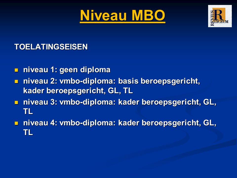 Niveau MBO TOELATINGSEISEN niveau 1: geen diploma niveau 1: geen diploma niveau 2: vmbo-diploma: basis beroepsgericht, kader beroepsgericht, GL, TL niveau 2: vmbo-diploma: basis beroepsgericht, kader beroepsgericht, GL, TL niveau 3: vmbo-diploma: kader beroepsgericht, GL, TL niveau 3: vmbo-diploma: kader beroepsgericht, GL, TL niveau 4: vmbo-diploma: kader beroepsgericht, GL, TL niveau 4: vmbo-diploma: kader beroepsgericht, GL, TL