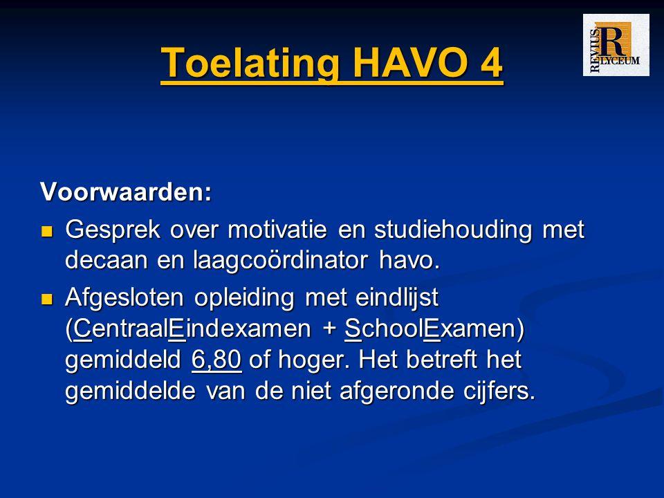 Toelating HAVO 4 Voorwaarden: Gesprek over motivatie en studiehouding met decaan en laagcoördinator havo.