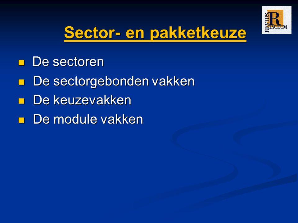 Sector- en pakketkeuze De sectoren De sectoren De sectorgebonden vakken De sectorgebonden vakken De keuzevakken De keuzevakken De module vakken De module vakken