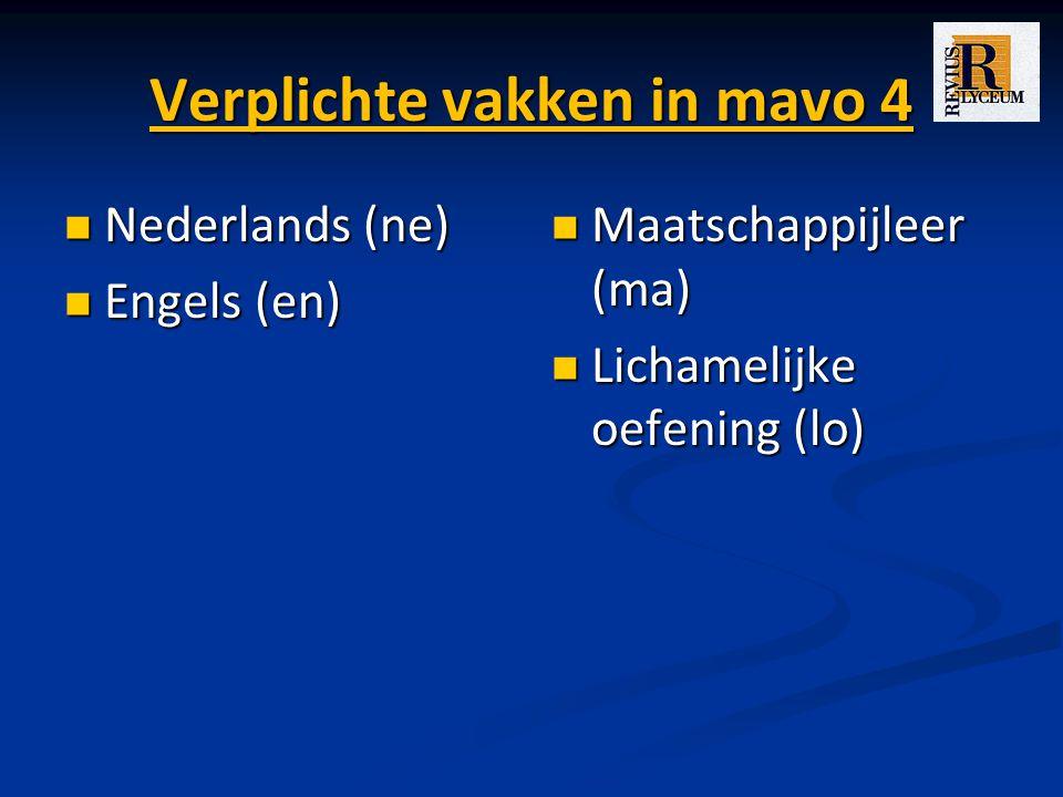 Verplichte vakken in mavo 4 Nederlands (ne) Nederlands (ne) Engels (en) Engels (en) Maatschappijleer (ma) Lichamelijke oefening (lo)