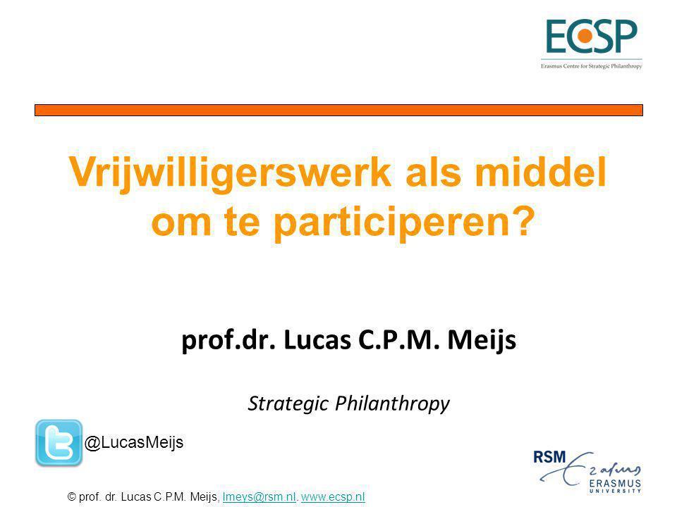 © prof. dr. Lucas C.P.M. Meijs, lmeys@rsm.nl. www.ecsp.nllmeys@rsm.nlwww.ecsp.nl prof.dr. Lucas C.P.M. Meijs Strategic Philanthropy Vrijwilligerswerk