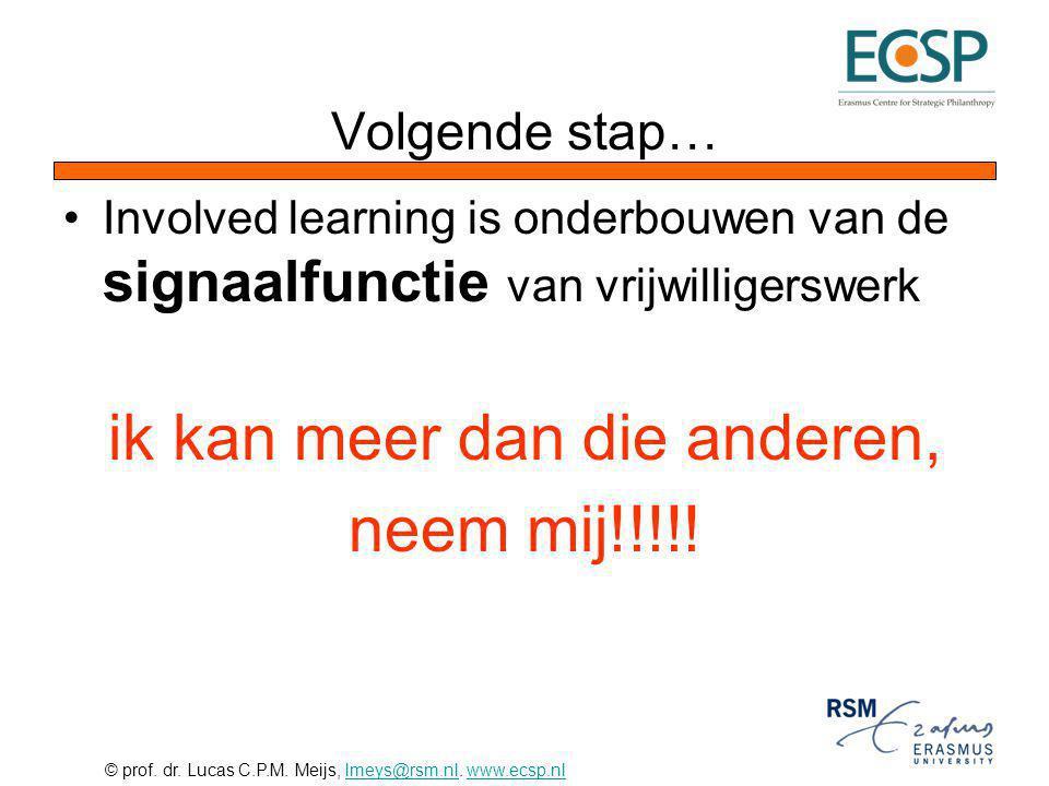 © prof. dr. Lucas C.P.M. Meijs, lmeys@rsm.nl. www.ecsp.nllmeys@rsm.nlwww.ecsp.nl Volgende stap… Involved learning is onderbouwen van de signaalfunctie