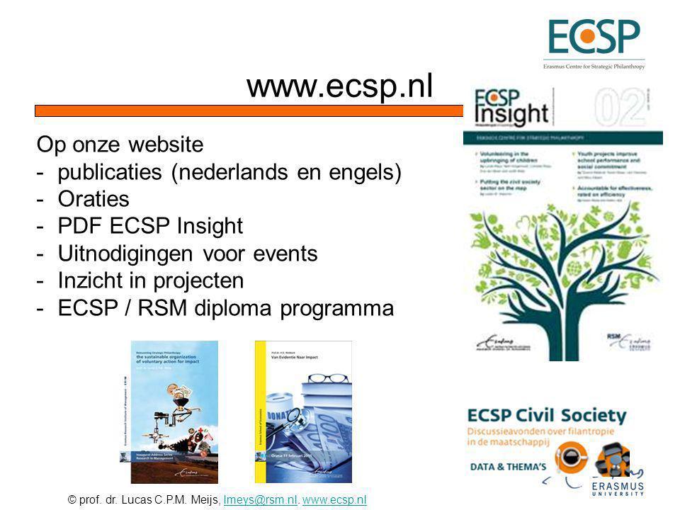 © prof. dr. Lucas C.P.M. Meijs, lmeys@rsm.nl. www.ecsp.nllmeys@rsm.nlwww.ecsp.nl Op onze website -publicaties (nederlands en engels) -Oraties -PDF ECS