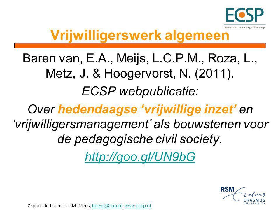 © prof. dr. Lucas C.P.M. Meijs, lmeys@rsm.nl. www.ecsp.nllmeys@rsm.nlwww.ecsp.nl Baren van, E.A., Meijs, L.C.P.M., Roza, L., Metz, J. & Hoogervorst, N