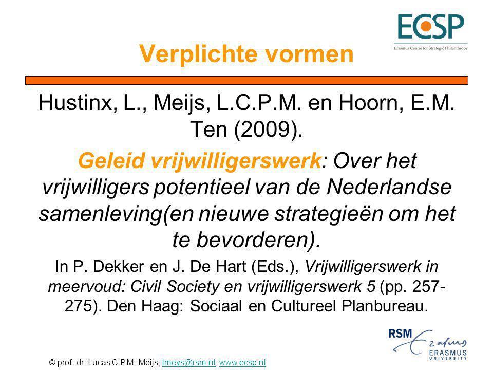 © prof. dr. Lucas C.P.M. Meijs, lmeys@rsm.nl. www.ecsp.nllmeys@rsm.nlwww.ecsp.nl Verplichte vormen Hustinx, L., Meijs, L.C.P.M. en Hoorn, E.M. Ten (20