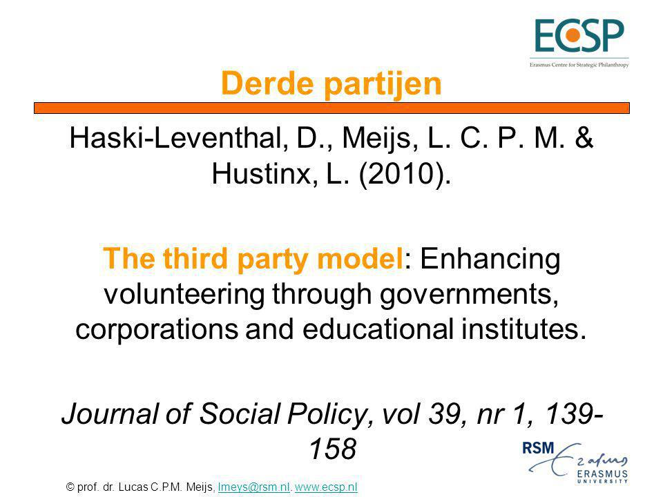 © prof. dr. Lucas C.P.M. Meijs, lmeys@rsm.nl. www.ecsp.nllmeys@rsm.nlwww.ecsp.nl Derde partijen Haski-Leventhal, D., Meijs, L. C. P. M. & Hustinx, L.